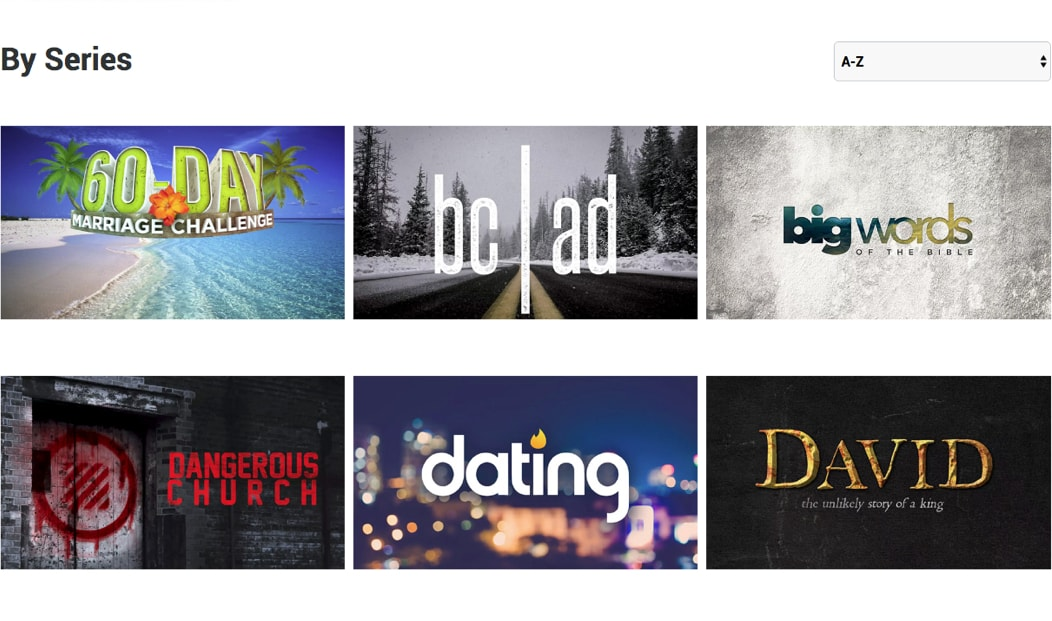 Organize videos by sermon series